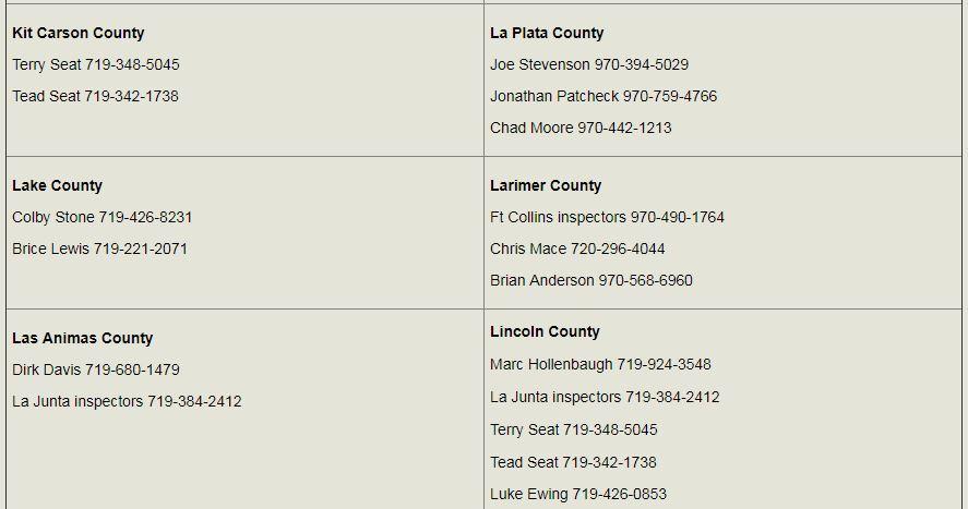 colorado county brand inspectors